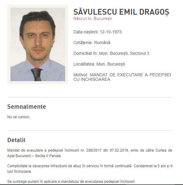 Pe site-ul Poliției Române, Săvulescu apare ca fiind dat în urmărire