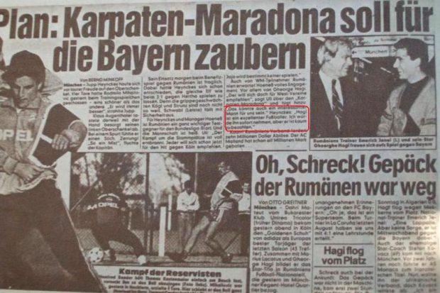 """Povestea amicalului caritabil al naționalei cu Bayern München, din 1990: """"Am primit cinci mașini second hand, mobilă, faxuri și bani de prima de calificare la Mondial"""""""