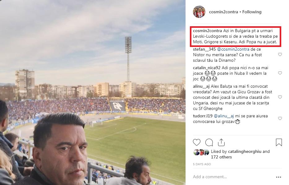 """Selecționerul Cosmin Contra, în conflict cu fanii! Replici acide pe Instagram: """"Bou și agramat"""" vs """"Boule, să îți iei ochelari"""""""