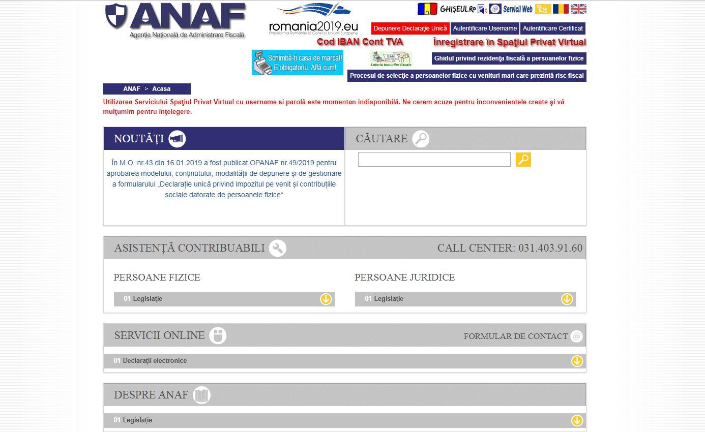 Site-ul ANAF avertizează cu privire la erori în privința Spațiului Privat Virtual, prin intermediul căruia trebuie depusă Declarația Unică