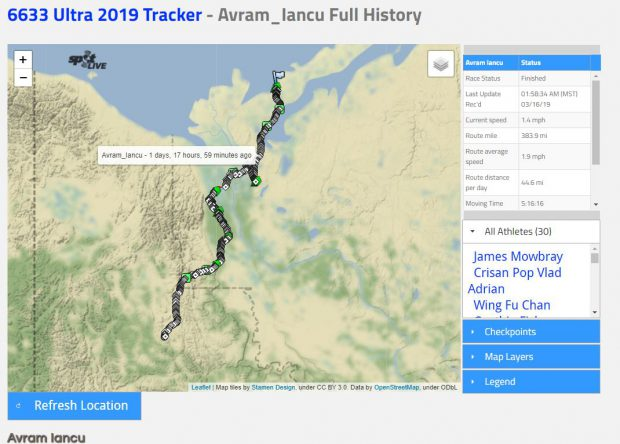 Avram Iancu a terminat 6633 Arctic Ultra, ultramaratorul de la Cercul Polar! Primul său mesaj, publicat după cea mai dură cursă din lume