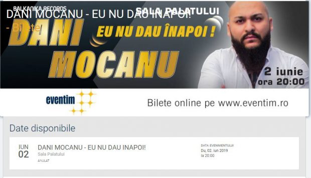 Concertul lui Dani Mocanu a fost anulat