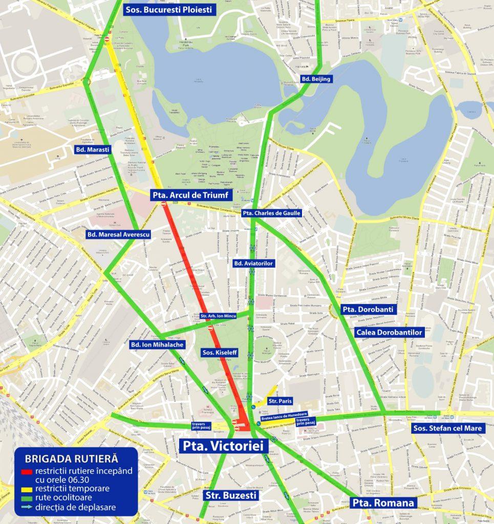 Protestul COTAR blochează traficul în nordul Capitalei. HARTA restricțiilor rutiere + rutele alternative recomandate pentru șoferi