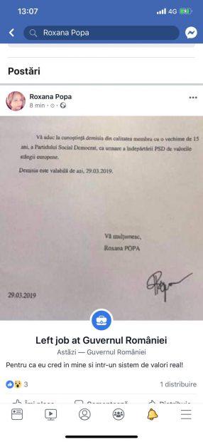 """Roxana Popa, şefa de cabinet a premierului Viorica Dăncilă, a demisionat. A plecat şi din PSD şi acuză """"îndepărtarea de valorile stângii europene"""""""