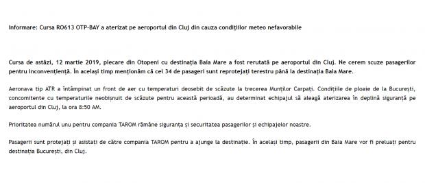 """Momente groaznice într-un avion TAROM! Compania a mințit până când Libertatea a obținut raportul tehnic! """"Condițiile meteo nefavorabile"""" au fost de fapt o defecțiune tehnică"""