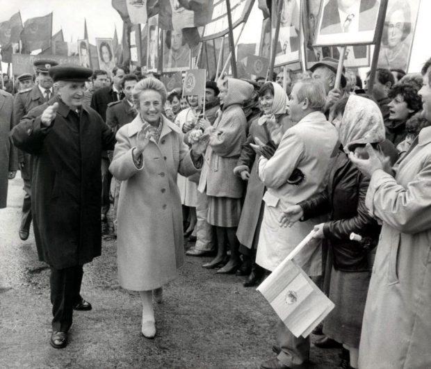 Nicolae și Elena Ceaușescu, la manifestările de 1 Mai din comunism