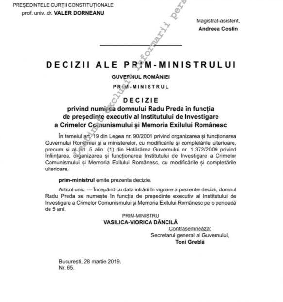 Radu Preda numit pentru un nou mandat la IICCMER