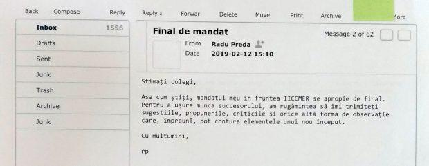 Radu Preda anunță că nu va mai fi președintele IICCMER