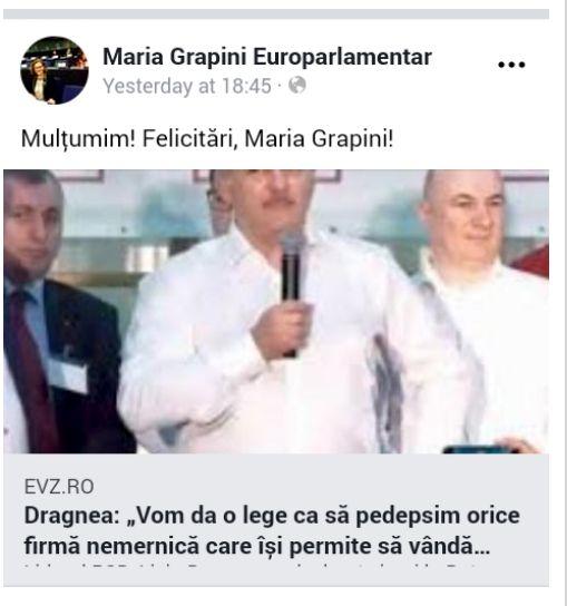 """Maria Grapini s-a lăudat singură pe Facebook. """"Mulțumim! Felicitări, Maria Grapini!"""". Avalanșa de ironii de după mesaj"""