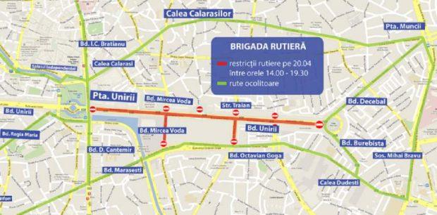 Restricţii de trafic în București, sâmbătă, 20 aprilie. Rute ocolitoare