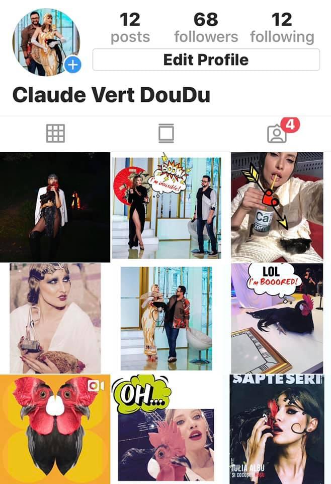 Iulia Albu i-a făcut cocoșului cont de Instagram