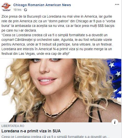 Loredana, sabotată? Un site românesc din SUA scrie că artista nu a primit viză pentru turneul din America din cauza unui român stabilit în Chicago!