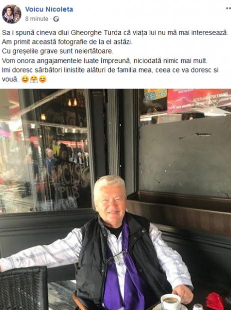 """Fosta iubita a lui Gheorghe Turda, mesaj dur pentru artist în Sâmbăta Mare. """"Am primit această fotografie de la el astăzi"""""""