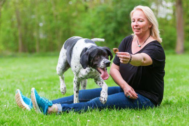 Dresaj canin - femeie care isi dreseaza cainele si ii ofera recompense