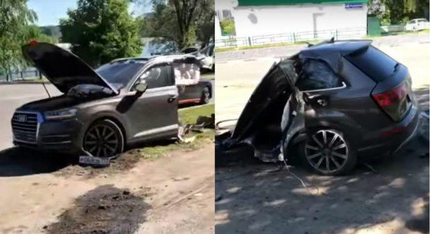 Accident aproape… SF: un Audi Q7 s-a rupt în două