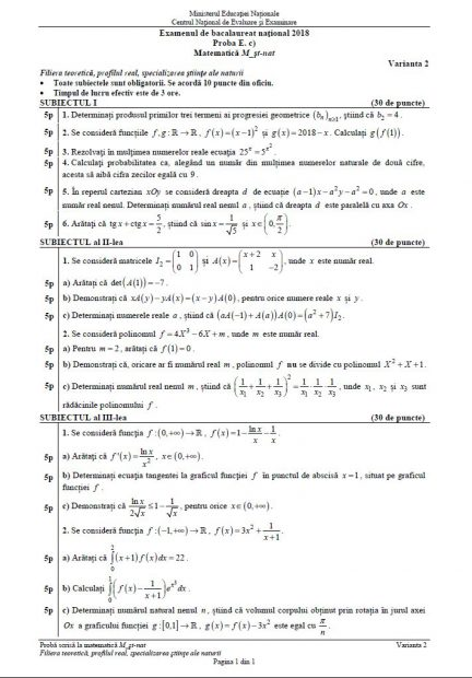 Subiecte BAC Matematică anul 2018 - Profilul Științele Naturii
