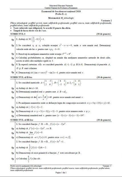 Subiecte BAC Matematică anul 2018 - Profilul Tehnologic