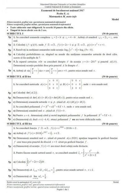 Subiecte BAC Matematică anul 2017 - Profil Mate-Info