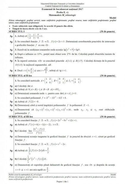 Subiecte BAC Matematică anul 2017 - Profilul Tehnologic