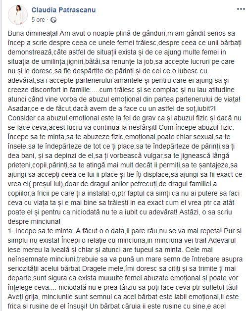 """Mesajul ciudat al Claudiei Păstrășcanu despre abuzuri emoționale. """"Am avut o noapte plină de gânduri"""""""