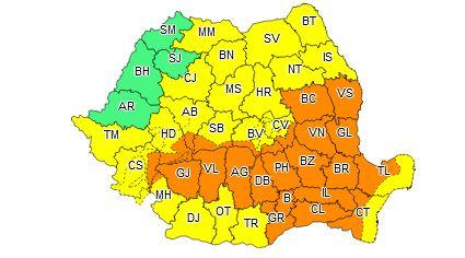 Cod portocaliu de ploi în jumătate de țară, până astăzi la ora 10.00