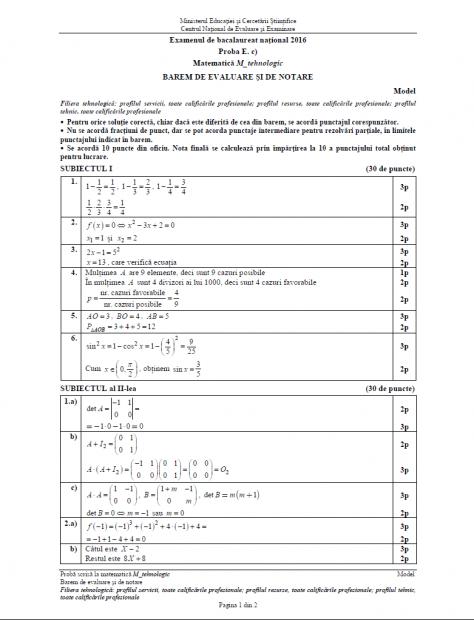 Subiecte BAC Matematică anul 2016 - Profilul Tehnologic