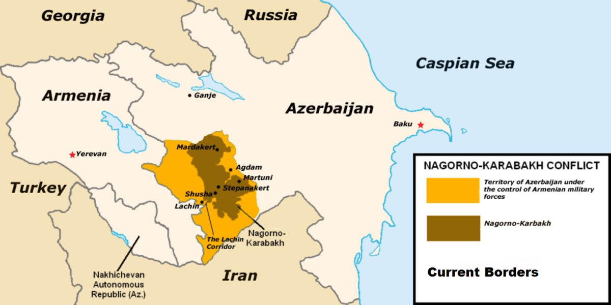 Harta regiunii Nagorno-Karabakh, motivul disputei politico-militare dintre Armenia și Azerbaidjan.