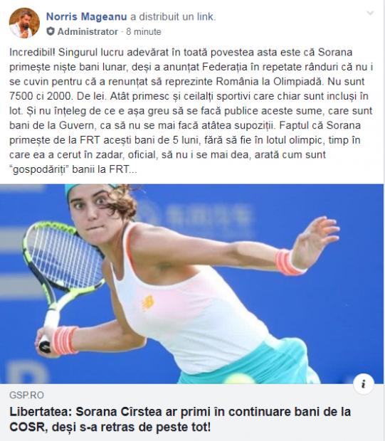 UPDATE | Sorana Cîrstea, plătită degeaba de COSR! Jucătoarea de tenis primește bani de la forul olimpic, deși s-a retras din echipa de Fed Cup și nu se poate califica la JO. Reacția FRT