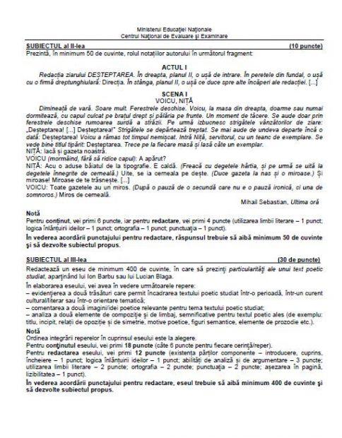 Ce a picat la BAC 2018 Limba Română - Profil Uman