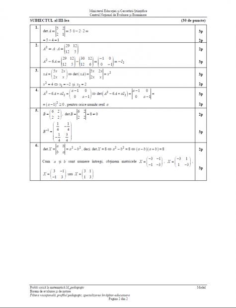 Subiecte BAC Matematică anul 2016 - Profilul Pedagogic