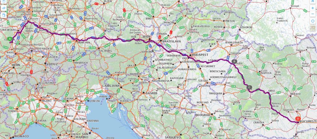Harta drumului la întors: drumul pe care am revenit acasă a fost o idee mai lung (1.939 km)