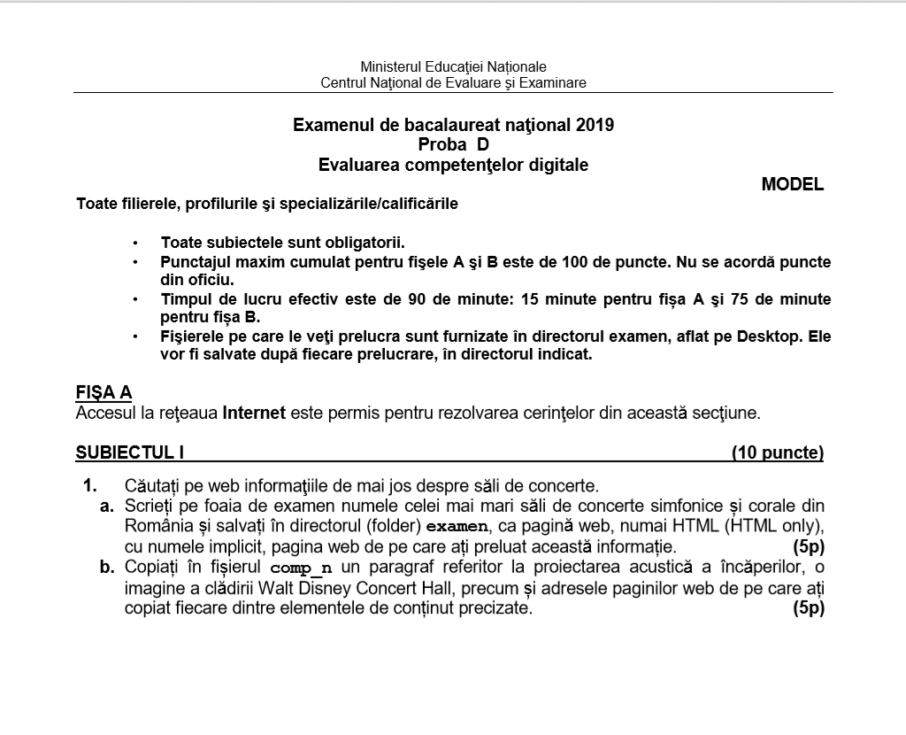 Subiecte BAC 2019 - Evaluarea competențelor digitale - Proba orală, fișa A