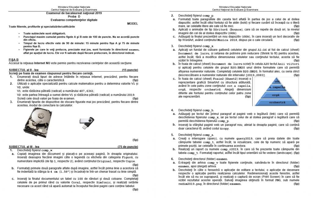 Subiecte BAC 2019 - Evaluarea competențelor digitale - Proba orală - Fișa B