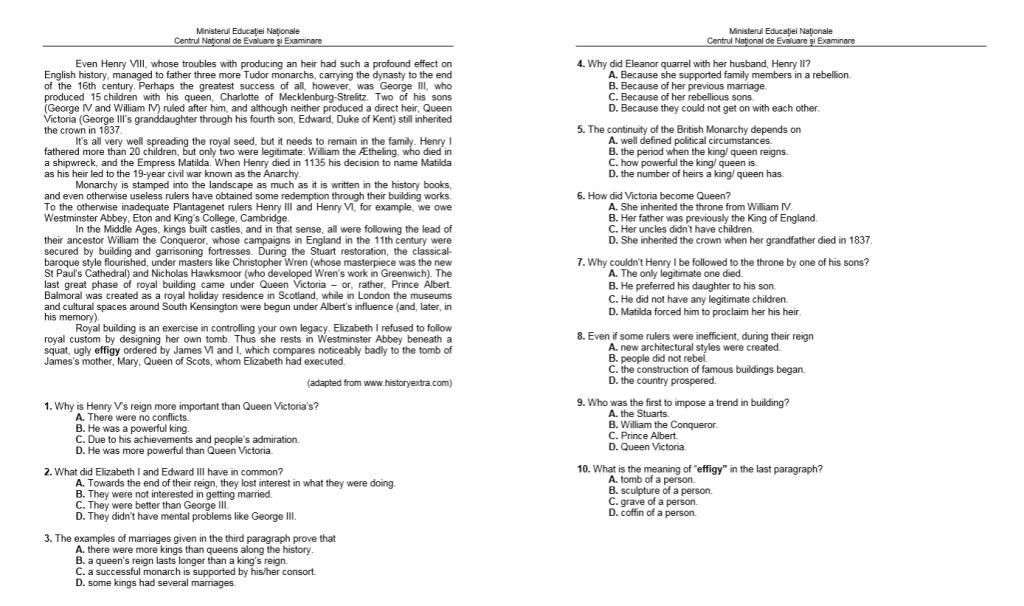 Subiecte BAC 2019 - Limba Engleză - Proba Orală - Integral