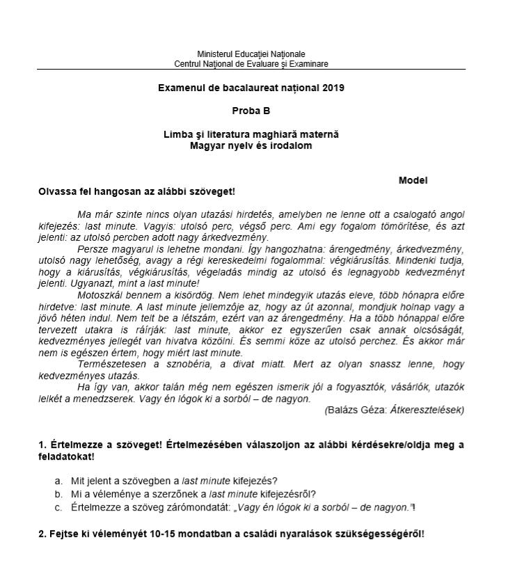 Subiecte BAC 2019 - Limba maternă - Maghiară - Proba orală