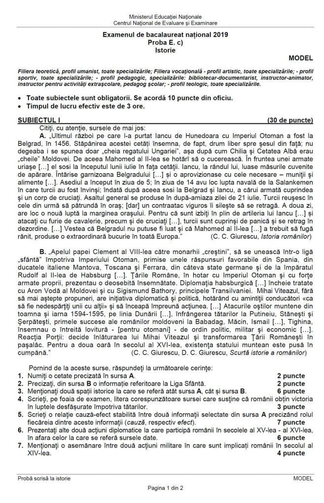 Model de subiect la Istorie la BAC - pag 1