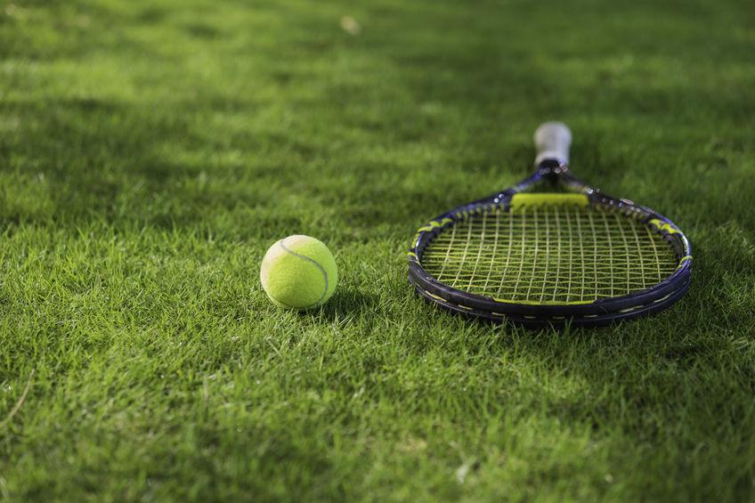 tenis pe iarba, racheta de tenis si minge de tenis