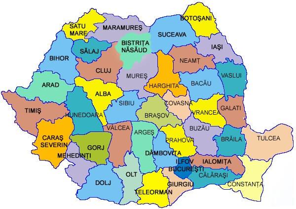 Harta județelor din România, și linkuri către rezultatele titularizării