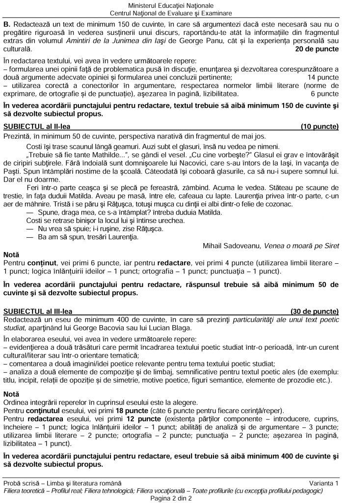 Subiecte BAC Română scris 2019 - profil real