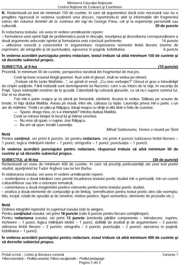 Subiecte BAC Română scris 2019 - profil uman