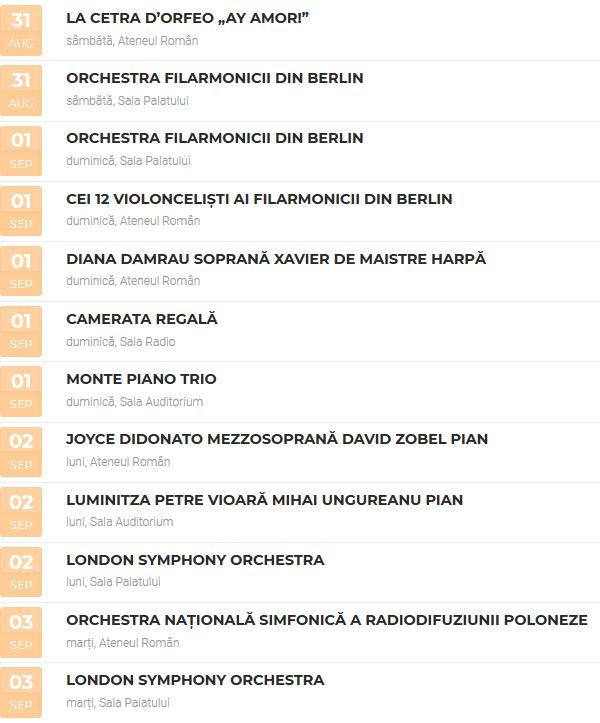 Program Festivalul George Enescu 2019