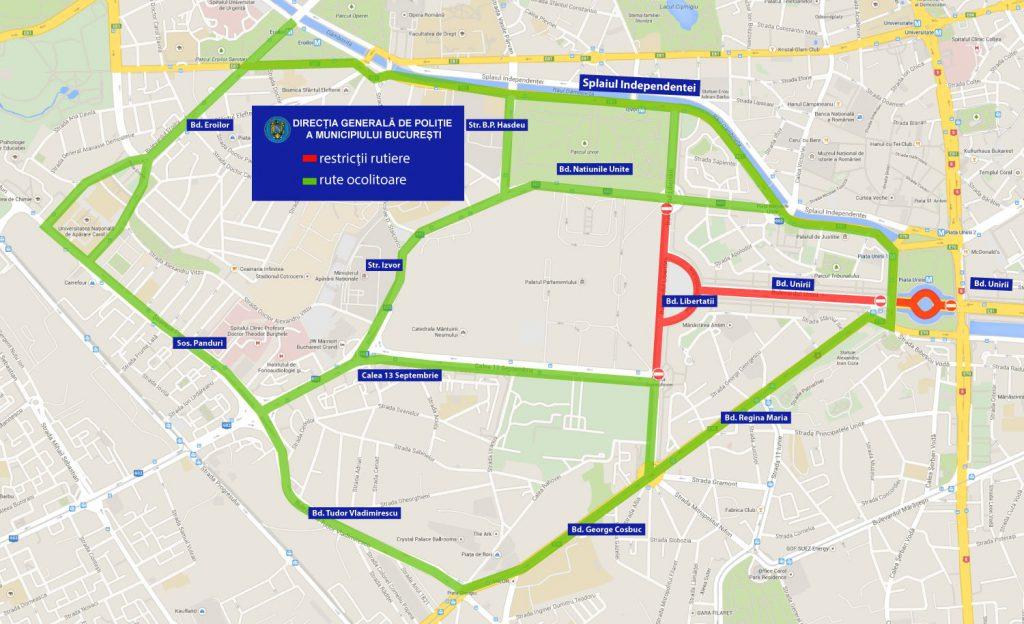 Zilele Bucureștiului 2019 - restricții de trafic în Piața Constituției