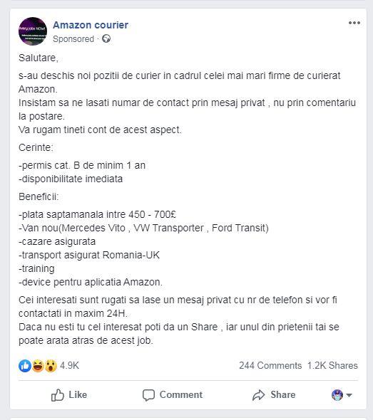 Amazon angajează șoferi din România pentru posturi în Anglia