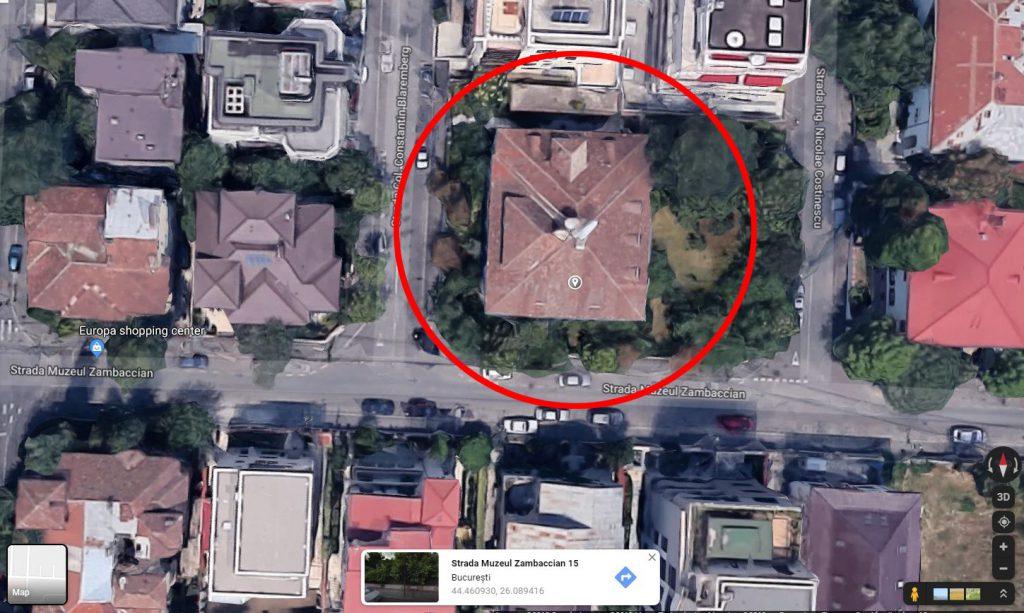 Casa Sadoveanu, vedere din satelit