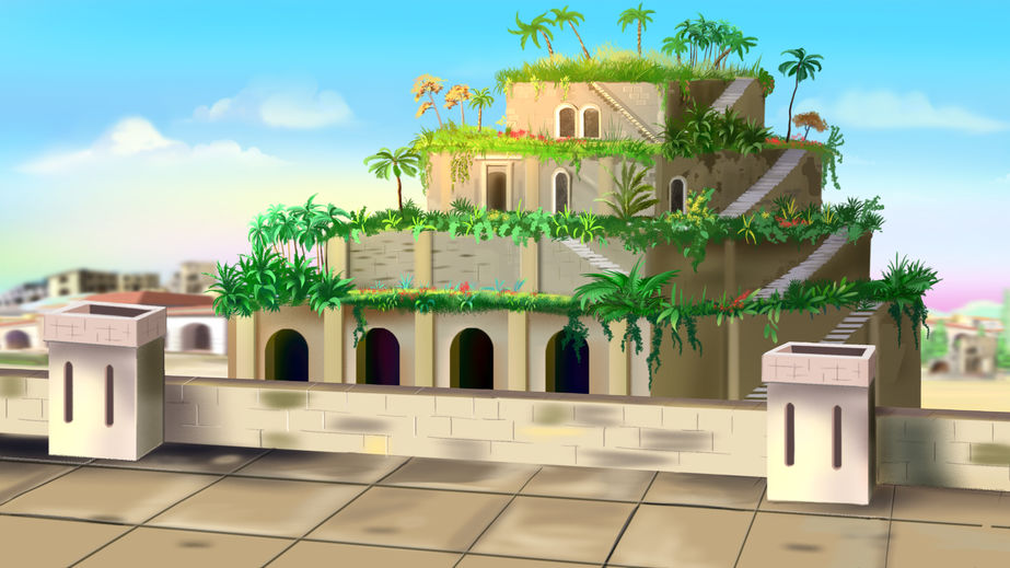 Grădinile Suspendate din Babilon - Grădinile Semiramidei (ilustrație)
