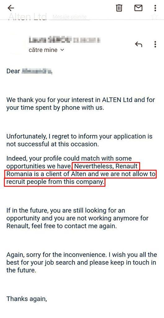 Intelegerea dintre Renault și subcontractorii săi, prin care companiile se obligă să nu-și ia angajații de la una la alta, funcționează la nivel european. Email dovadă