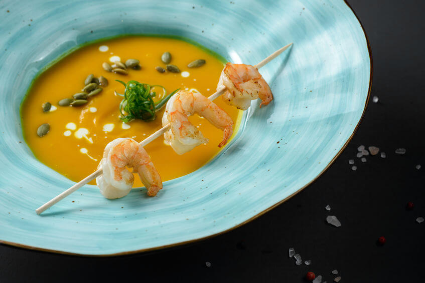 Supă cremă de dovleac și creveți