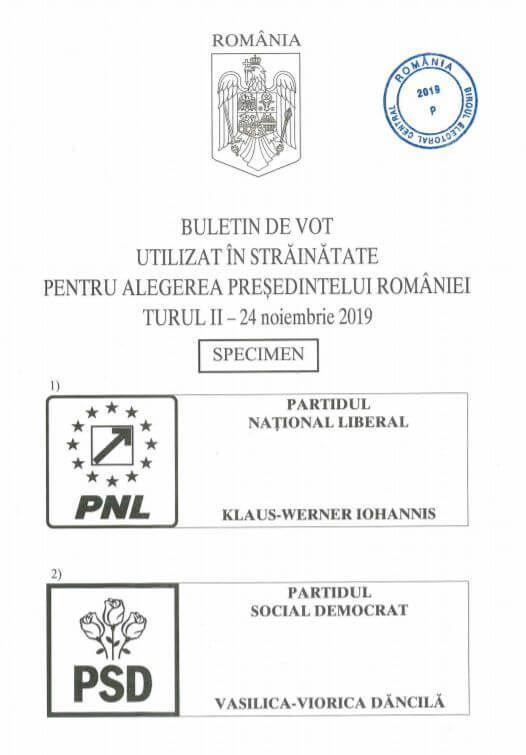 Buletin vot pentru turul 2 alegeri prezidentiale 2019