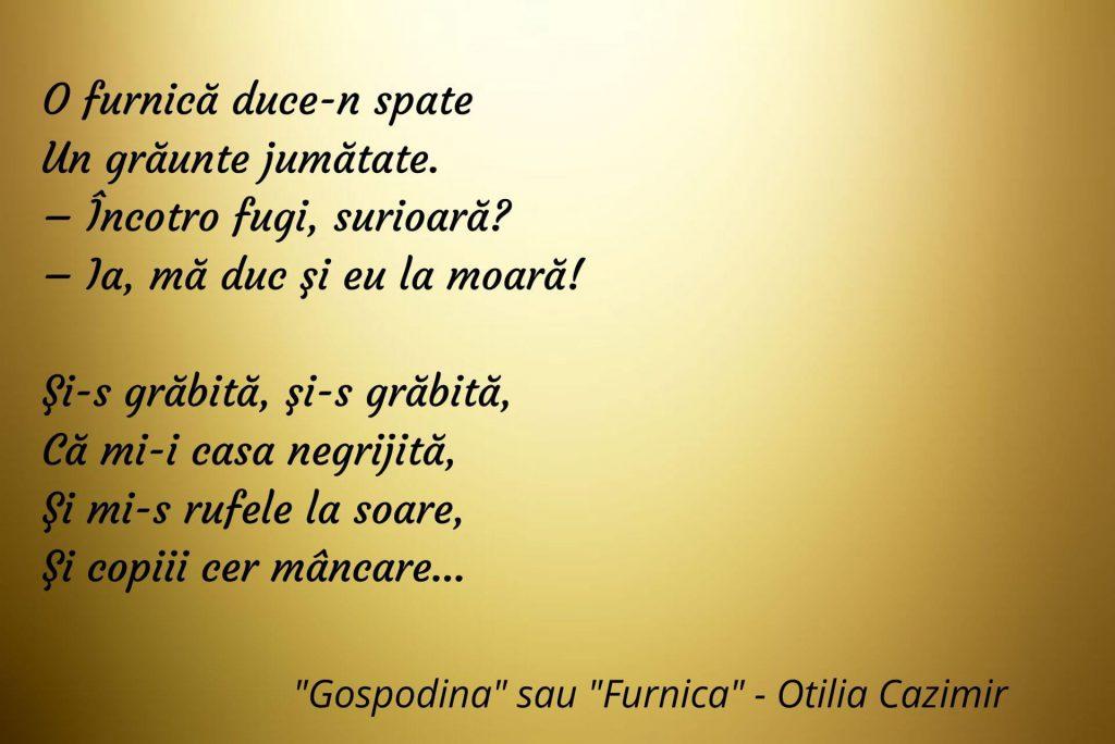 Gospodina sau Furnica - Otilia Cazimir - Poezii pentru copii