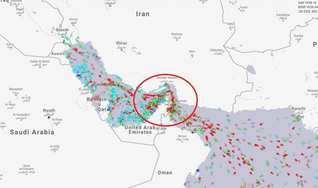 blocarea strâmtorii Ormuz - g=harta zonei